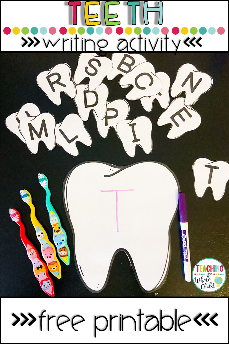This Free Writing Activity Includes A Large Tooth And Upper And Lower Case Tooth Cards For Matching In 2020 Writing Activities Free Preschool Dental Health Activities [ 1152 x 768 Pixel ]
