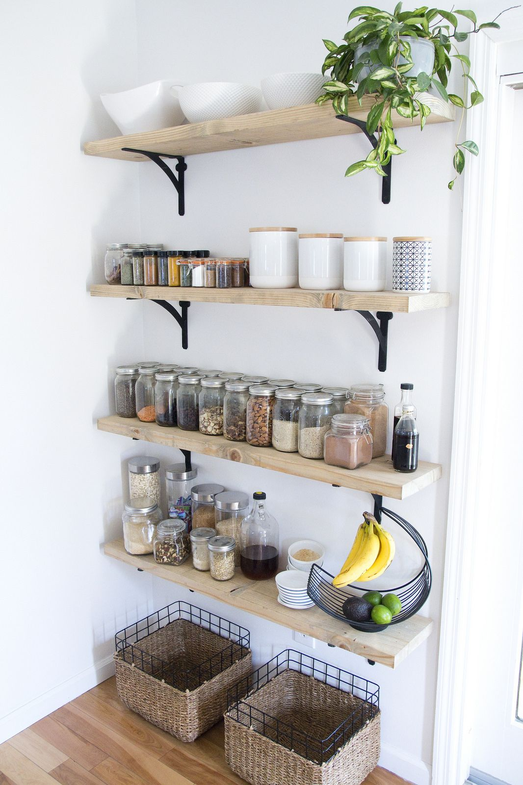 8 tips for creating successful open shelving and a pantry for Open storage ideas