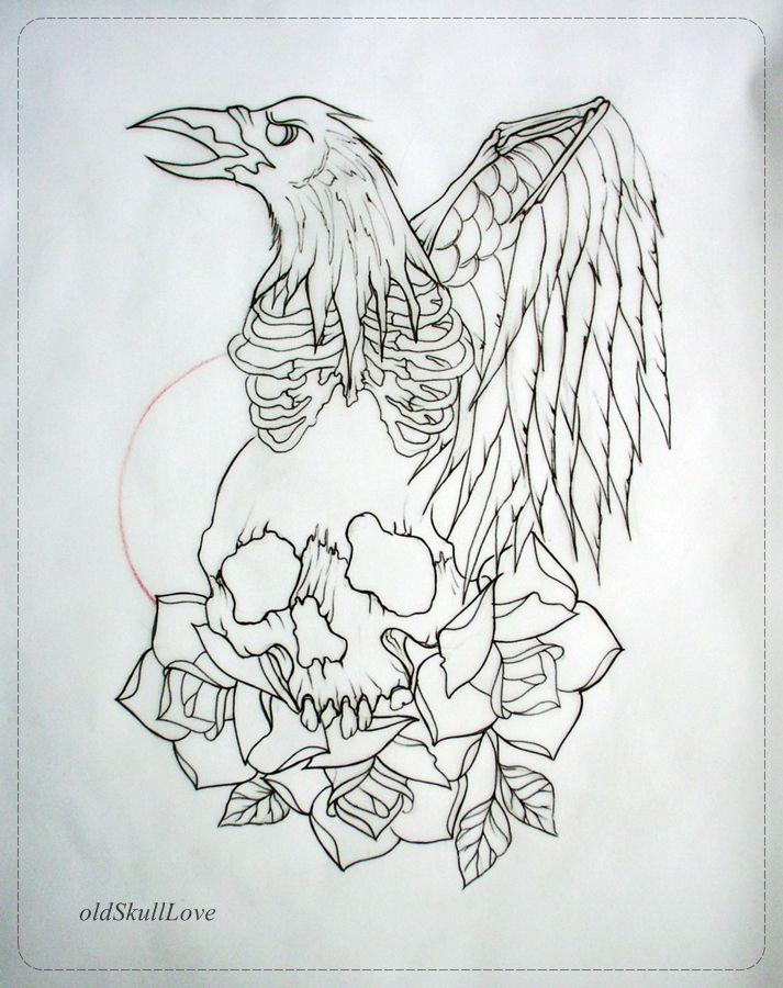 Skull Tattoo Flash Outlines Raven and skull tattoo design