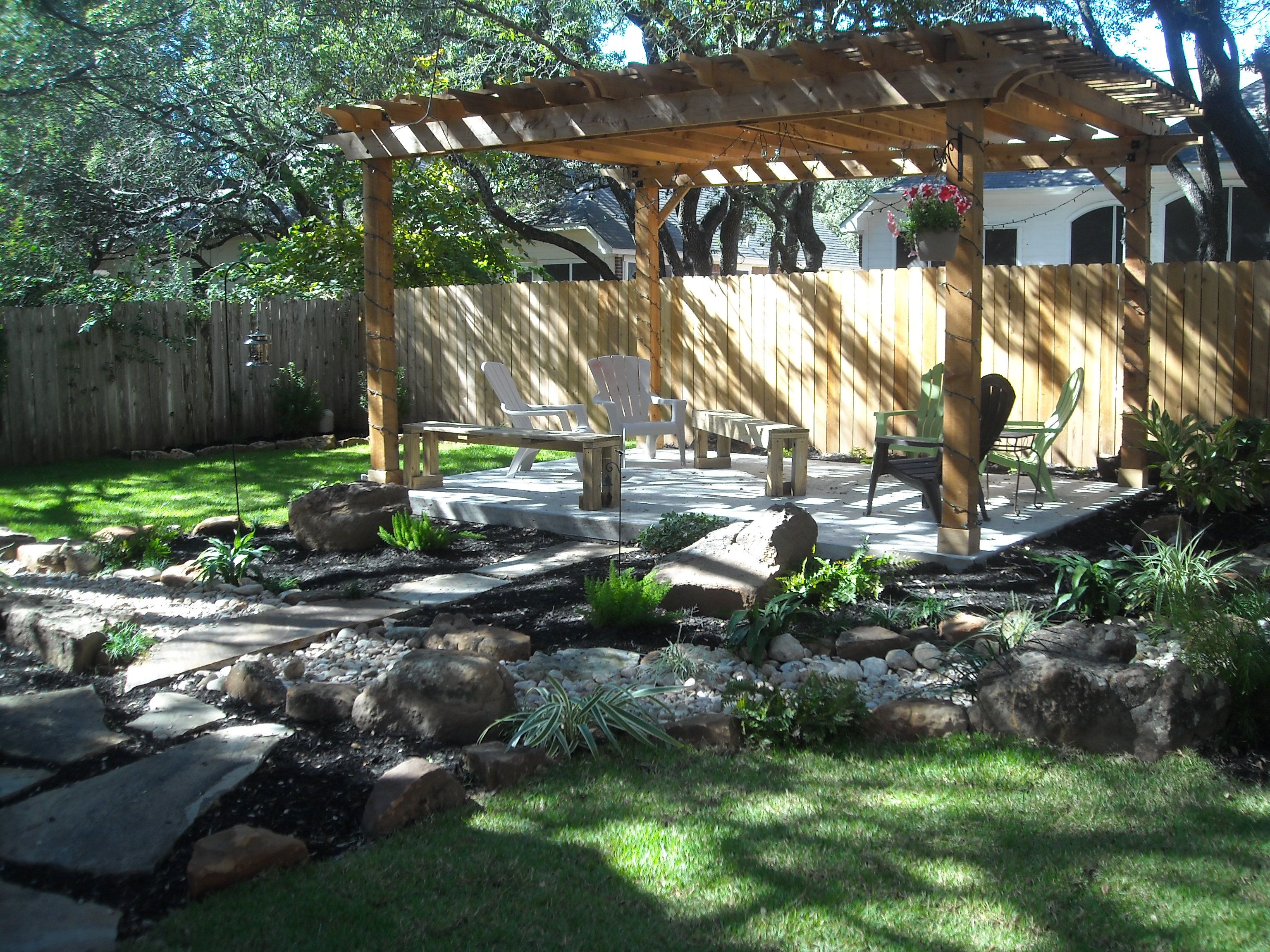 backyard landscape pergola beautiful zoysia grass dry creek