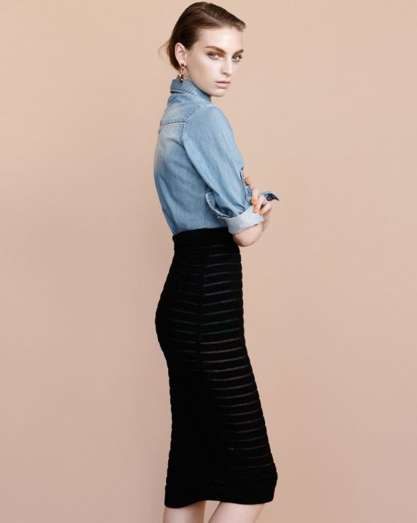 chic pencil skirt outfits | Pencil Skirt + Denim Shirt | The Trend Report