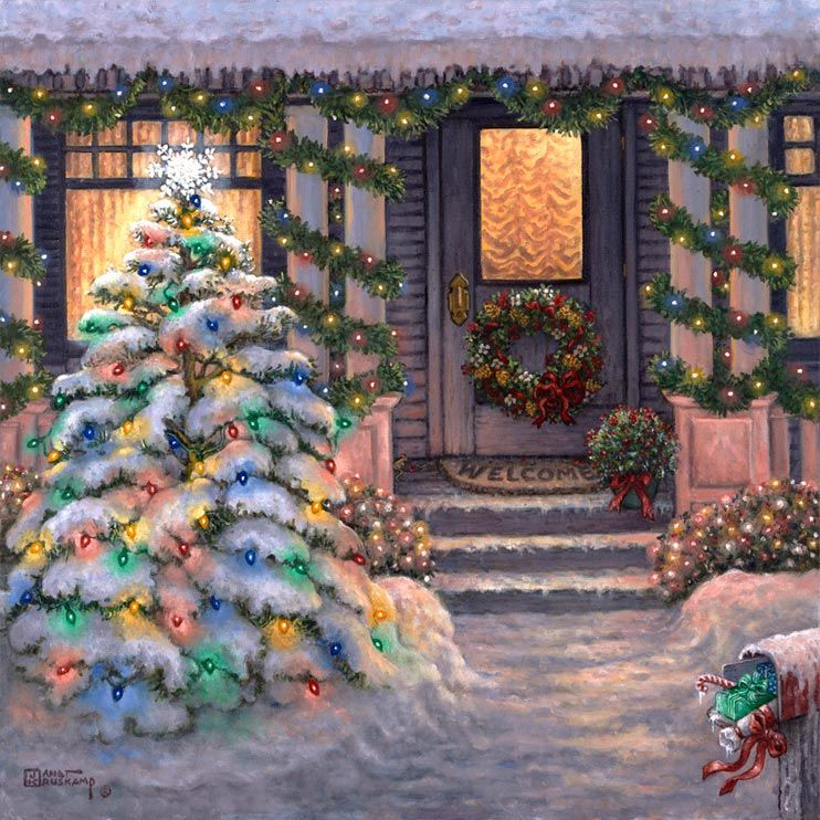 Welcome to Christmas, a wintery painting by artist Janet Kruskamp. The warm glow of a winter sunset suffuses this festive scene. The snowcla...