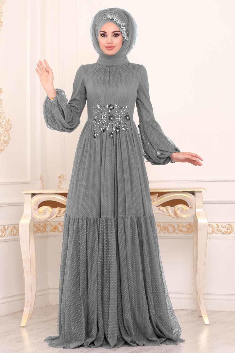 Tesetturlu Abiye Elbise Balon Kollu Gri Tesettur Abiye Elbise 38940gr Tesetturisland Com Elbise Giyim Elbiseler