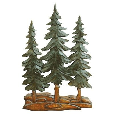 Pine Trees Wood Carving Wall Art wood crafts Pinterest Wood