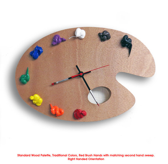 Artist Palette Clock 3D Paint On Wood TRADITIONAL Left Or Right Handed