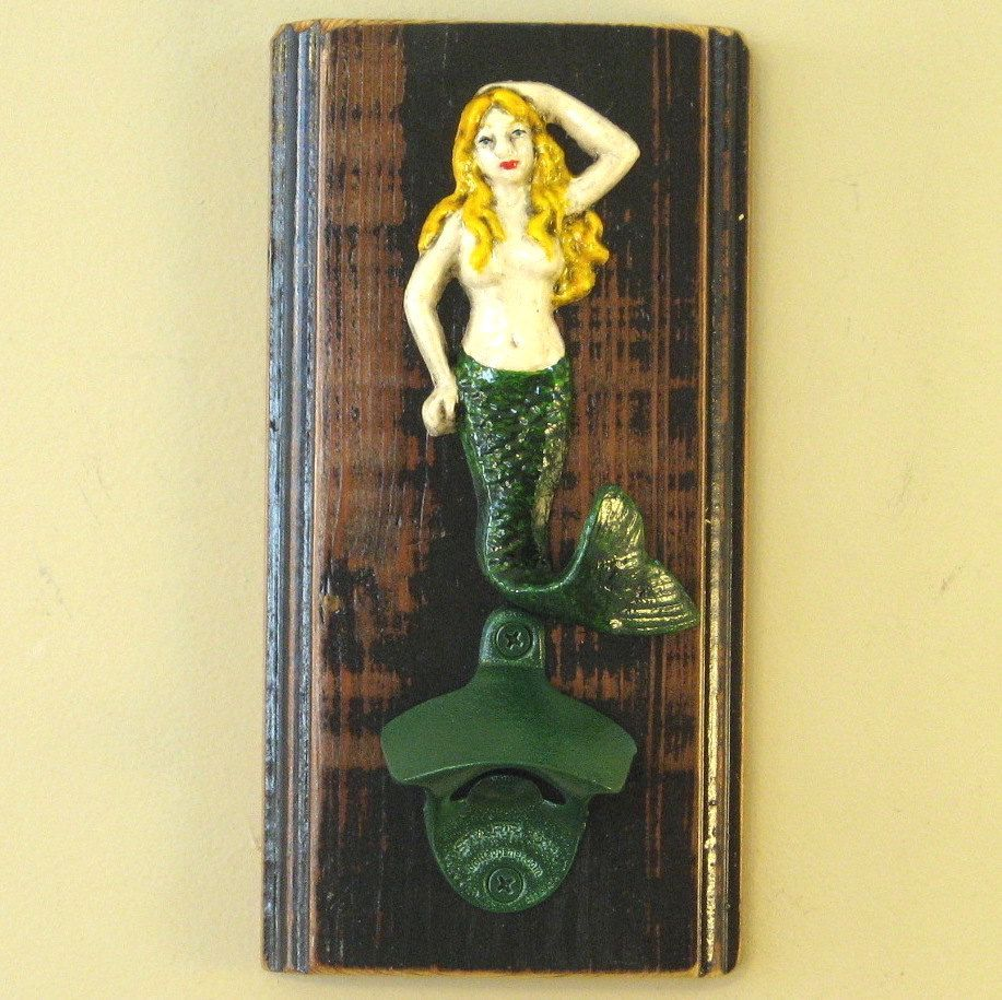 Wall-mounted mermaid bottle opener wall hanging with blonde-haired ...