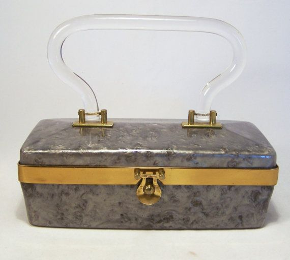 Vintage Grey Pearlized Lucite Purse with Clear Hinged Molded Handle 215DG
