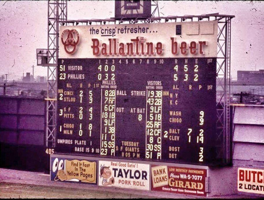 Connie Mack Stadium Philadelphia May 22 1960 Nice Look At The Phillies Score Philadelphia Phillies Baseball Baseball Stadiums Pictures Baseball Scoreboard