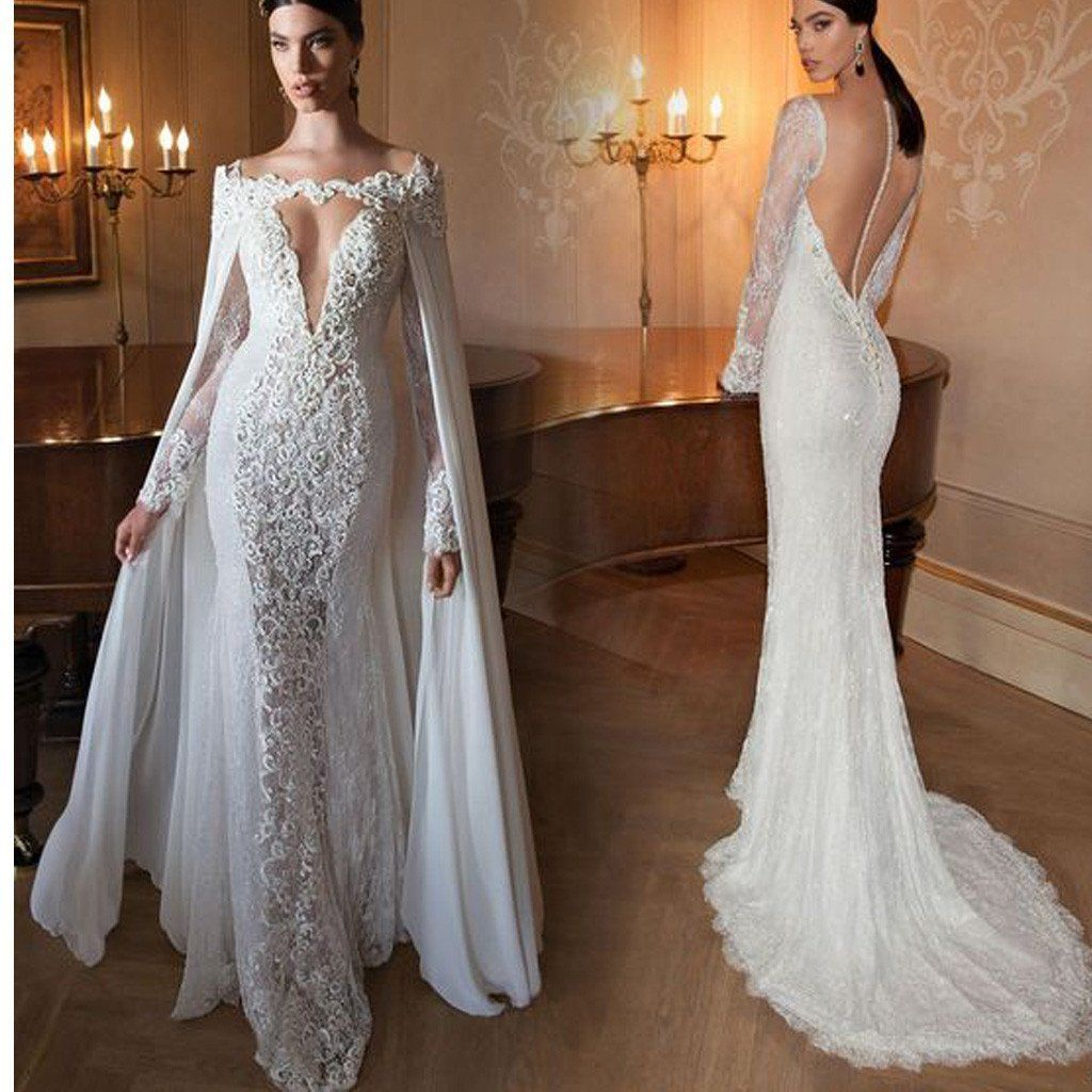 8fa154d96e883 Lace Deep V-Neck Mermaid With Long Sleeves Open back Charming Prom Dresses