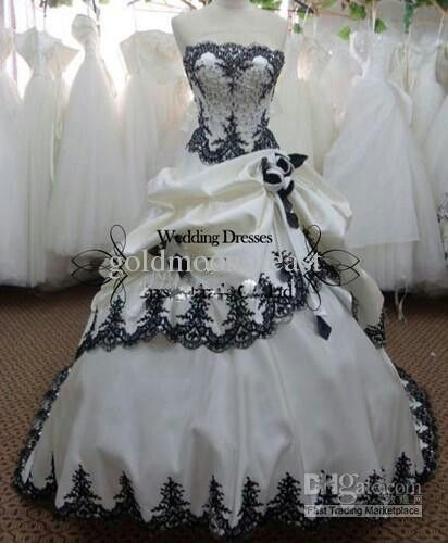 Vintage Black White Gothic Ball gown Wedding Dress Bridal gowns ...