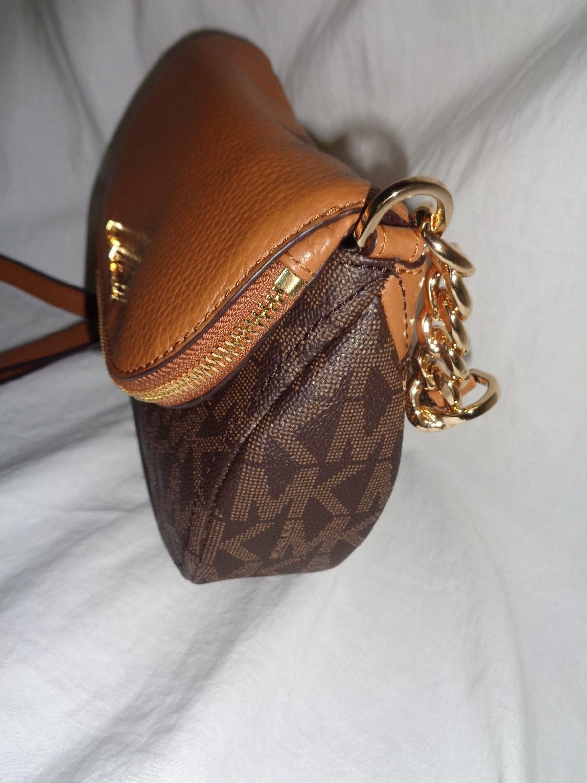 735d4f19eebac MICHAEL KORS BEDFORD FLAP CROSSBODY MK LOGO LEATHER BROWN ACORN SMALL  HANDBAG  99.78 Michael Kors Bedford