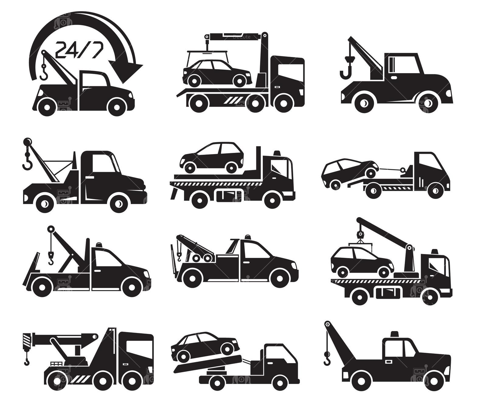 Tow Truck Svg Tow Truck Service Icons Crane Truck Hoist Etsy Tow Truck Truck Cranes Towing