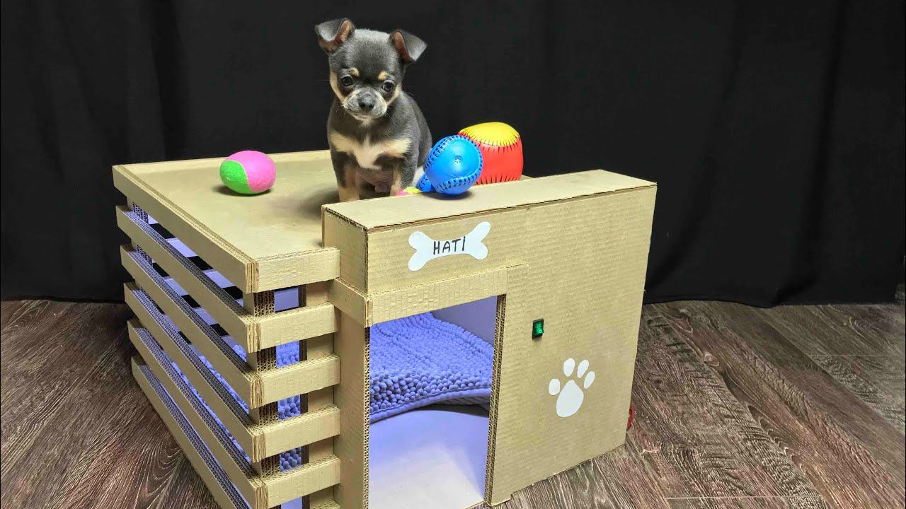 How To Make Amazing Puppy Dog House From Cardboard Dog House Diy