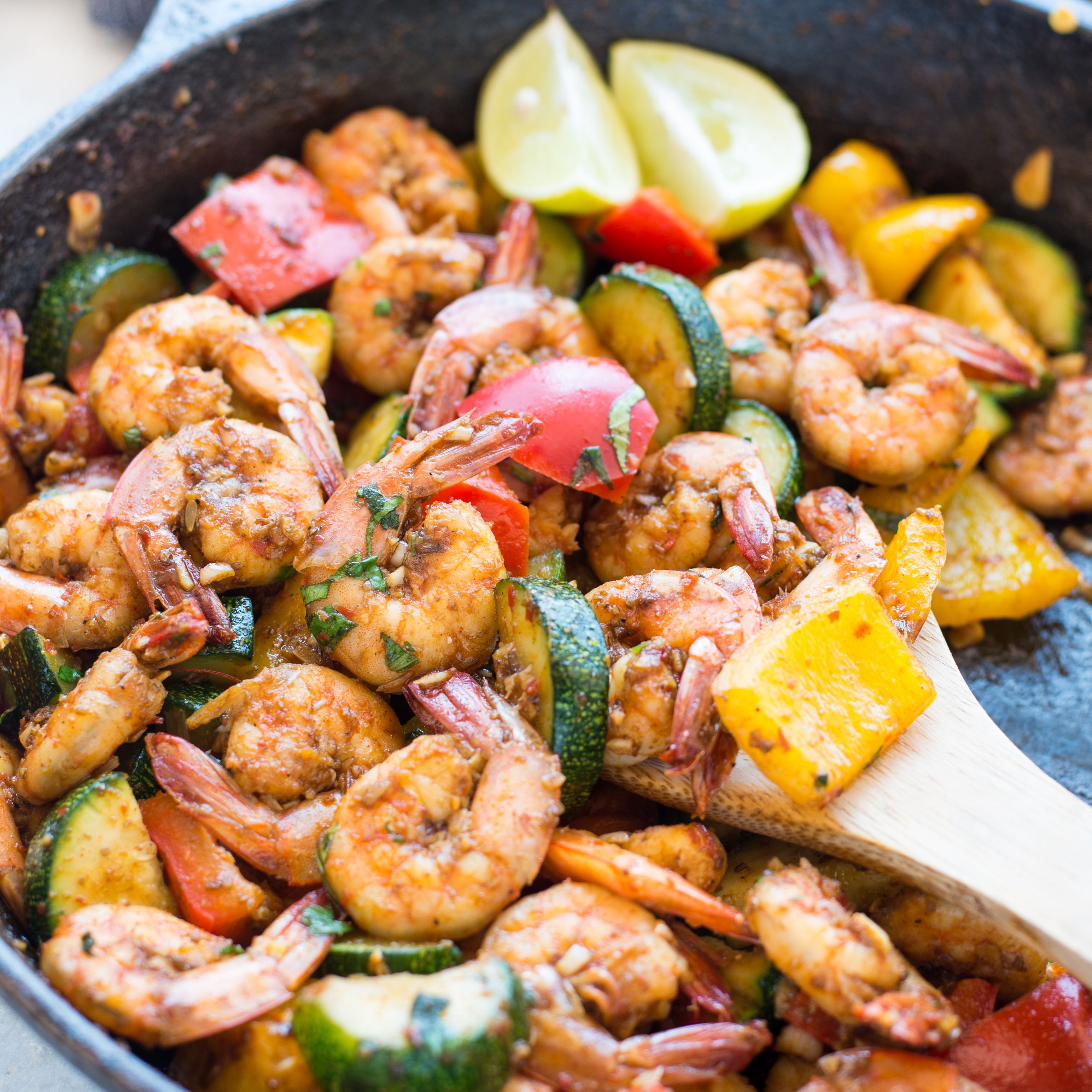 This Easy Garlic Butter Shrimp And Vegetable Skillet Made
