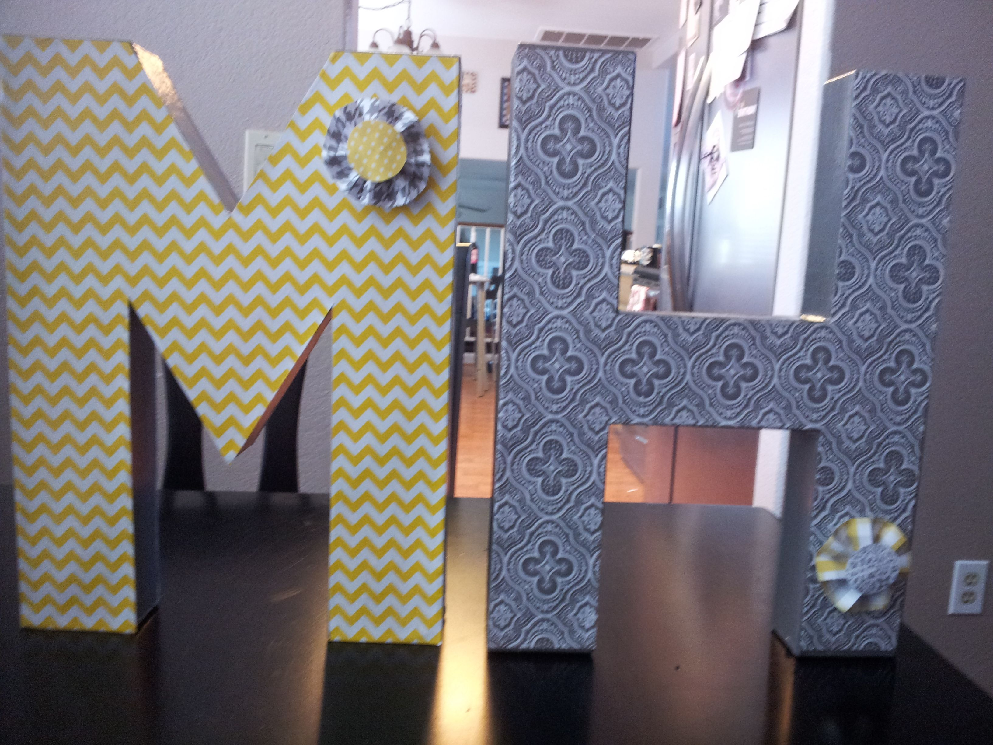 Wedding decorations Bought paper mache letters at Michaels mod