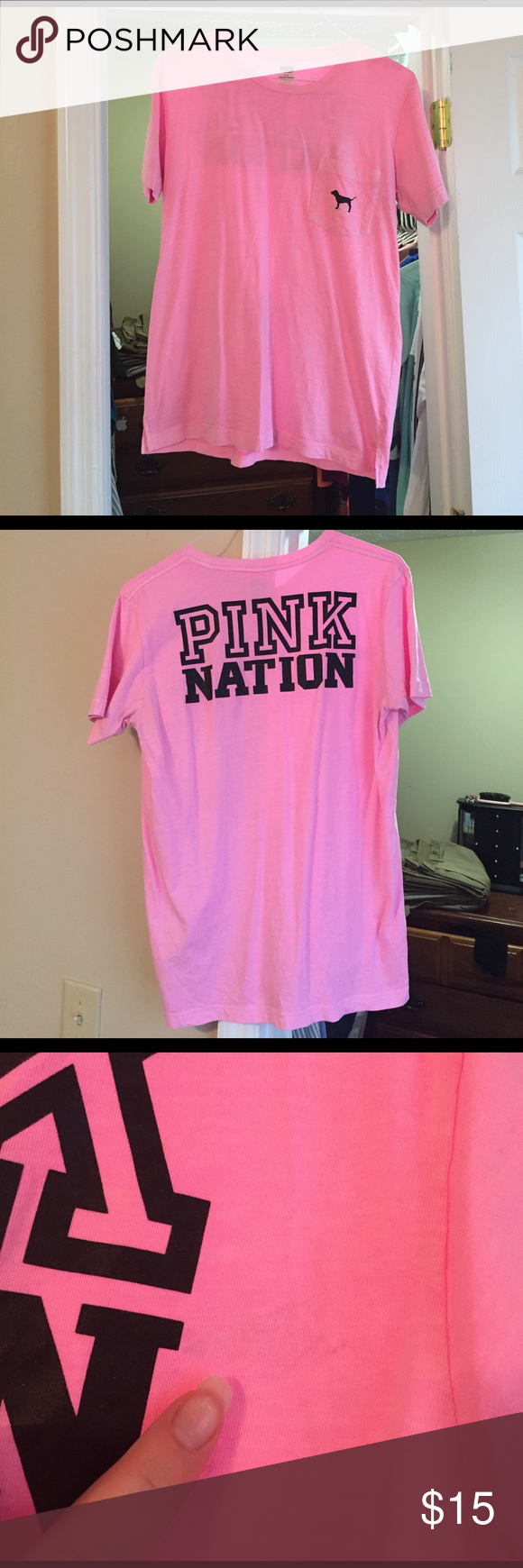 Campus T-shirt Light pink short sleeve with black dog on front pocket and Pink nation written on back. One very faint small stain next to the pink nation. Pictured above. Light fading. Slightly oversized. PINK Victoria's Secret Tops Tees - Short Sleeve