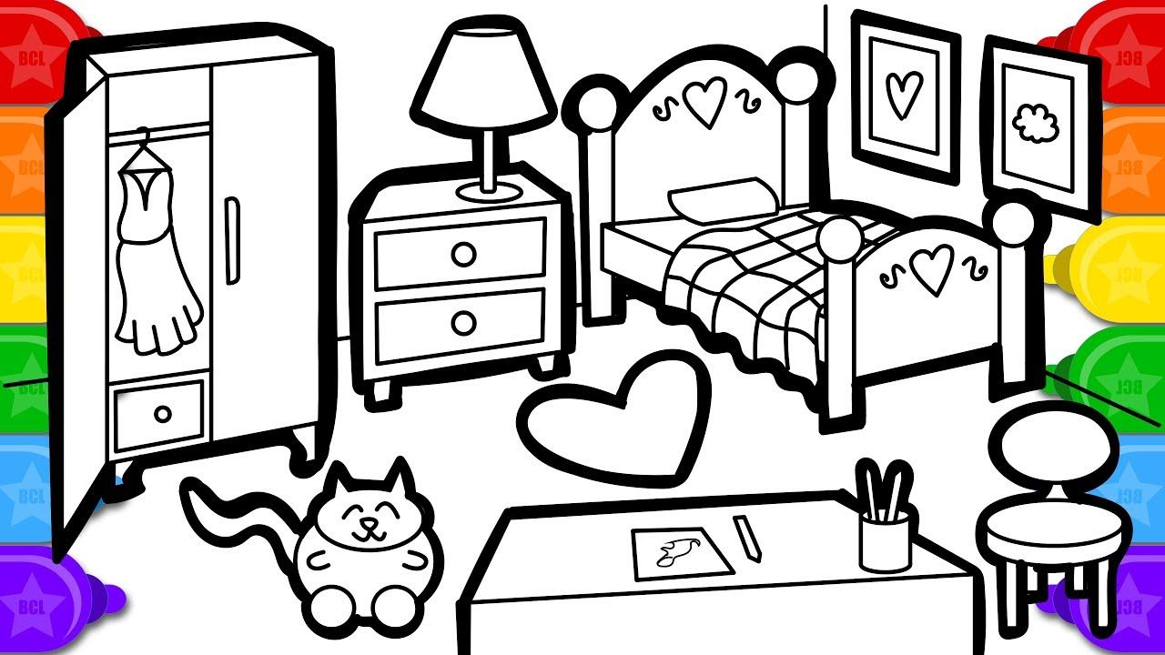 Coloring Watercolor Bedroom Colouring Page Learn Colors Coloring And Pa Coloring Pages Drawing For Kids Learning Colors