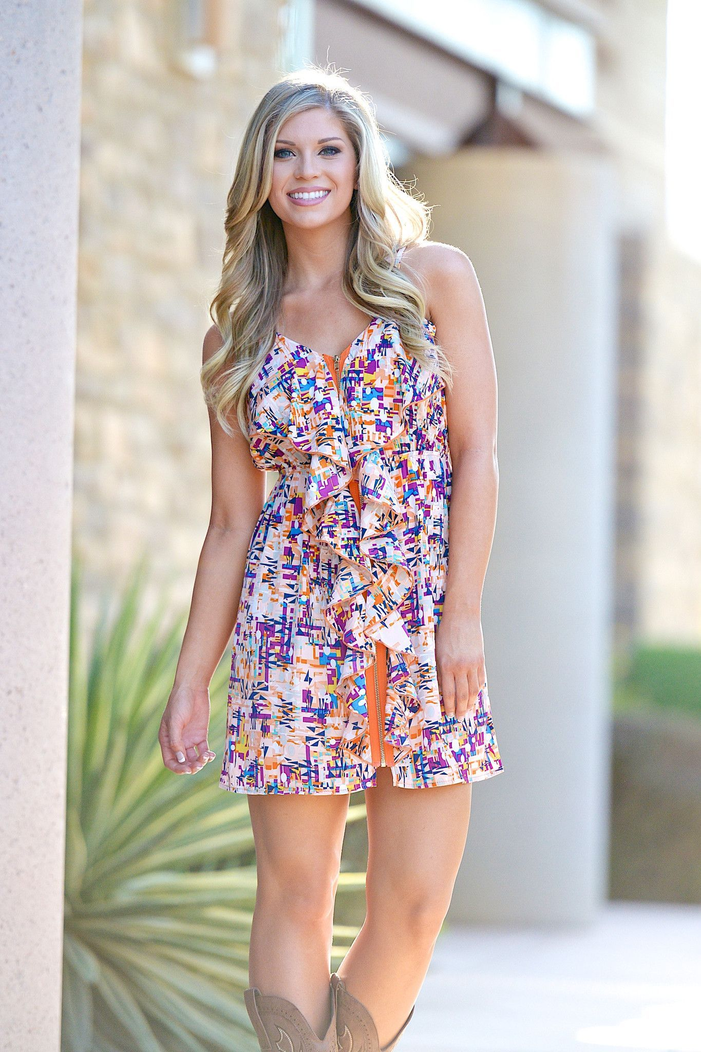 A Breath of Spring Dress - Tangerine Abstract from Closet Candy Boutique