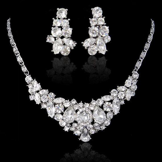 Swarovski Crystal Bridal Necklace Earrings Set Pierced Dangle With Bib Bridesmaid Jewelry Wedding Gift 150228267