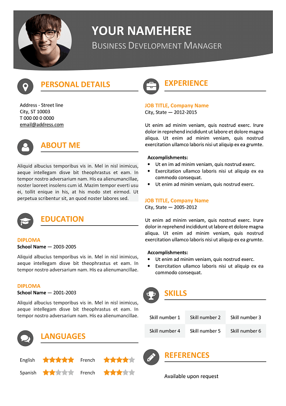Hongdae Free Modern Resume Template Orange | Classic resume ...