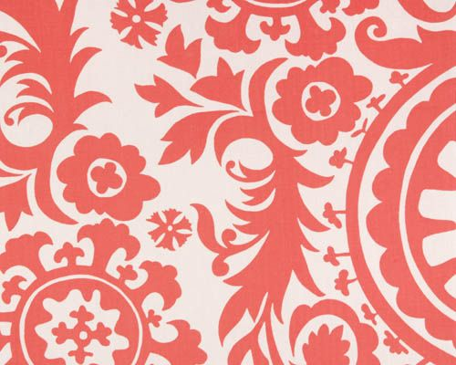 Coral and White Suzani Collection - Premier Prints