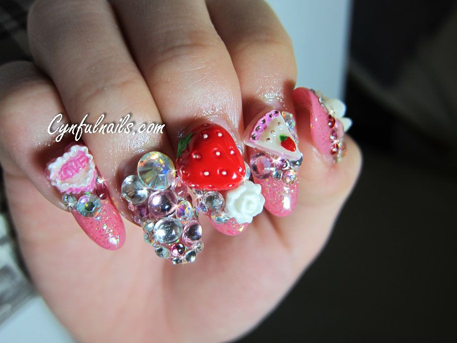 strawberry, glitter, diamond, rose, flower, super-glitter, crazy nail.  Crazy Nail Designs3d ... - Strawberry, Glitter, Diamond, Rose, Flower, Super-glitter, Crazy