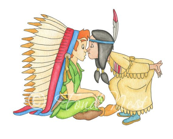 Disney Peter Pan And Tiger Lily Nose Kiss Watercolor By Fondnest