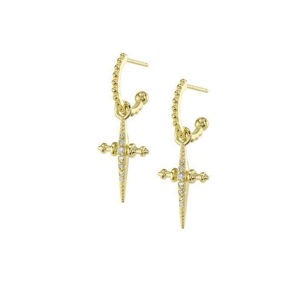 Luv Aj Diamond Cross Hoop Dangle Earrings Iconery