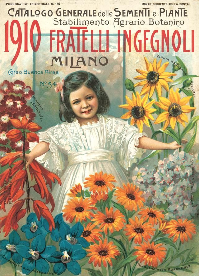 Fratelli Ingegnoli Seed Catalogue Milan Italy 1910  Front cover  Fiori  Frutti  Seed