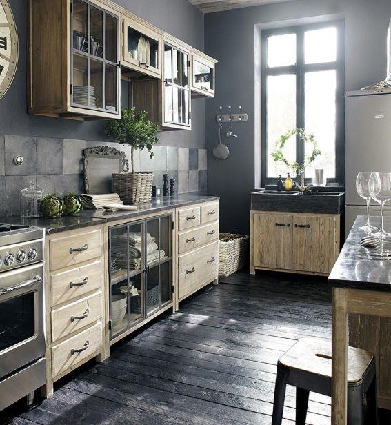 cuisine maisons du monde bois verre ardoise industrielle retro