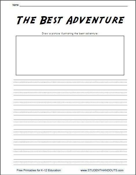 The Best Adventure K 2 Writing Prompt Free To Print Pdf File