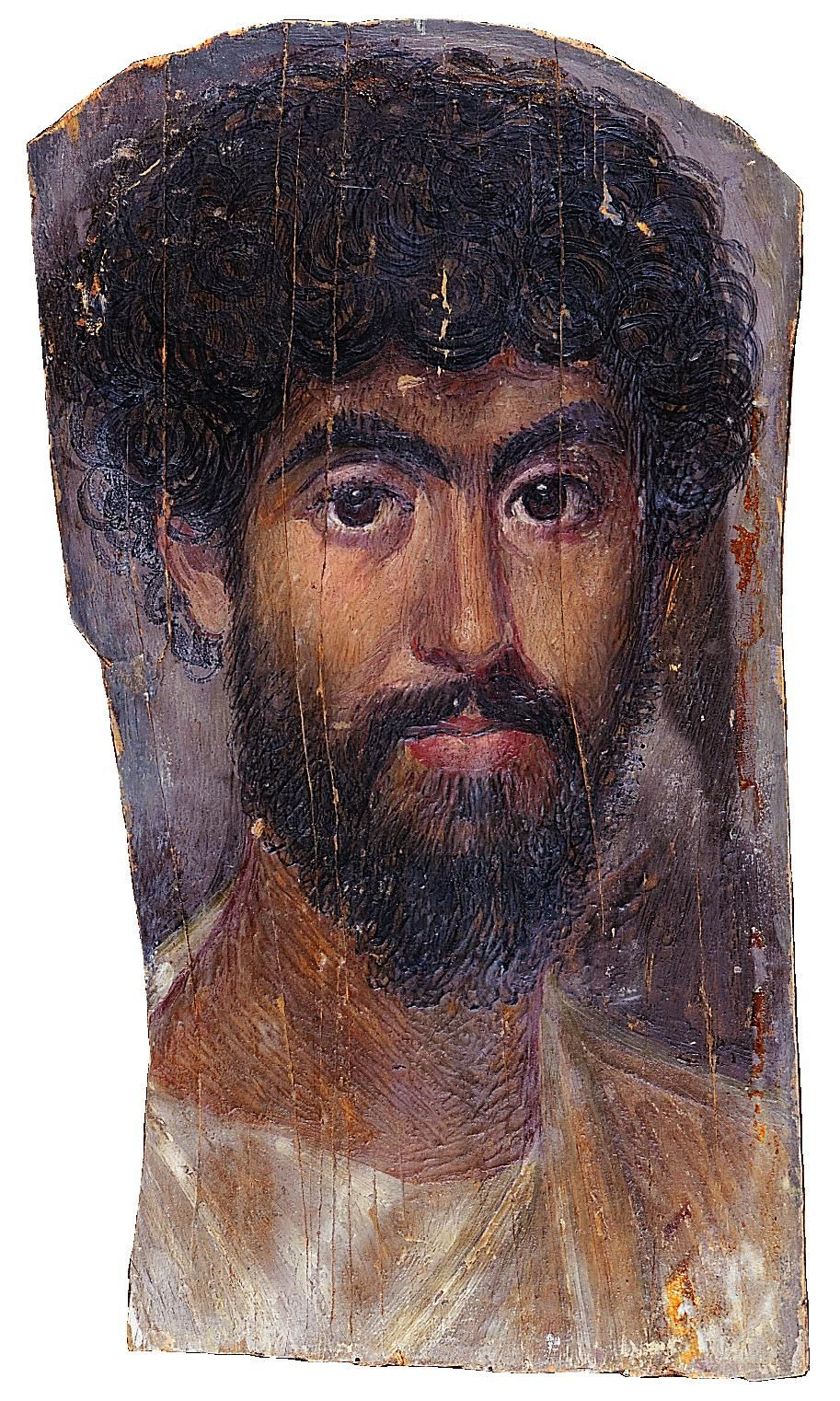 Pittura Romana Fayum Mummy Portrait Of A Man Tinted Wax On Wood From Faiyum Egypt