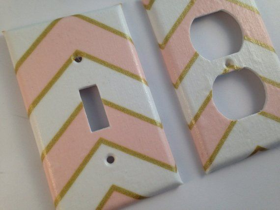 Metallic Gold Pink White Light Switch Plate Cover / Gold Home Decor / Gold Bedroom / Gold Nursery De images