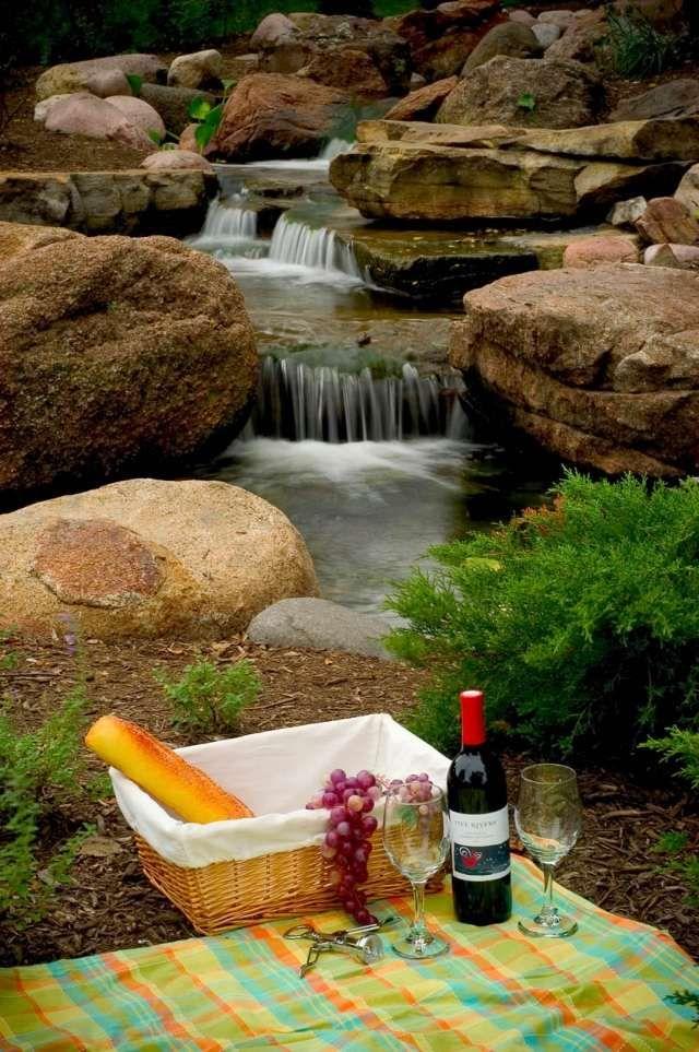 picknick am teich-Garten gestalten-mit wasser-ideen zum wohlfühlen - naturlicher bachlauf garten