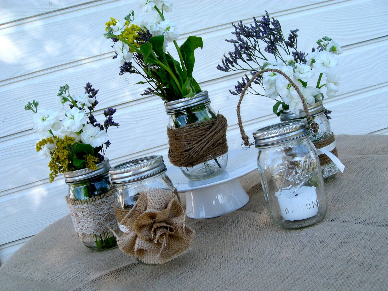 Mason jars and burlap of my favorites little lovelies that