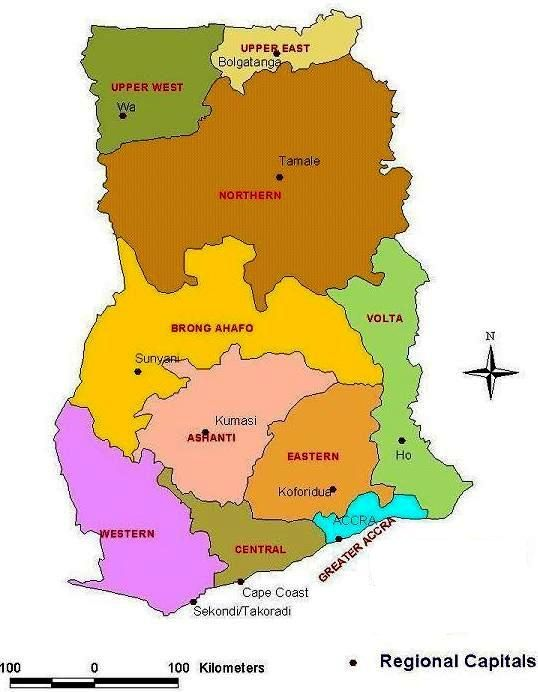 map of ghana | ADMINISTRATIVE MAP OF GHANA | Map of Africa | Africa ...