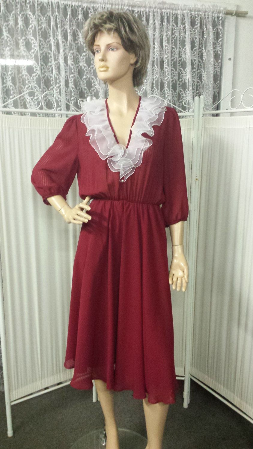 Vintage Red Chiffon Cocktail Dress Elegant Chic Event Wear by GenevieveEventWear on Etsy
