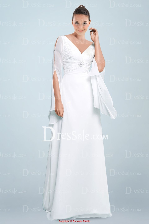 Weddingstuff elegant chiffon vneckline aline wedding dress