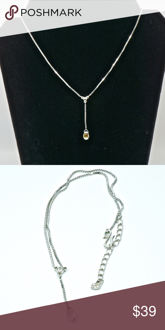 Iridescent and crystal silver Y necklace