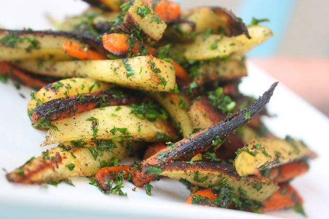 Seasoned Parsnip & Carrot Fries with Kale  (turns out I hate parsnips)  Ha!