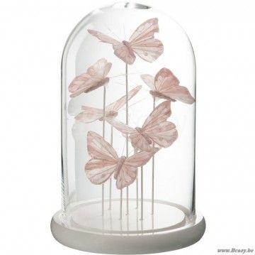 J Line Glazen Stolp Met Licht Roze Vlinders Glas S 30h Glas Licht Tafelgerei