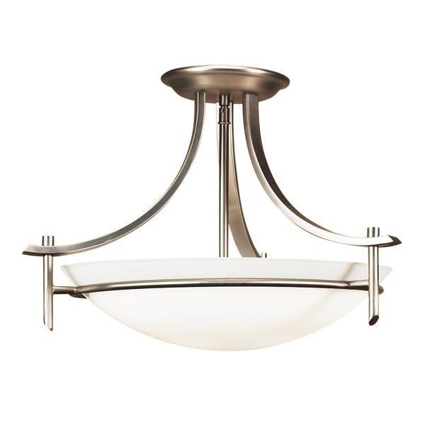 Brushed Chrome Bowl Semi-Flush Mount : 6YM7D | Norburn Lighting & Bath