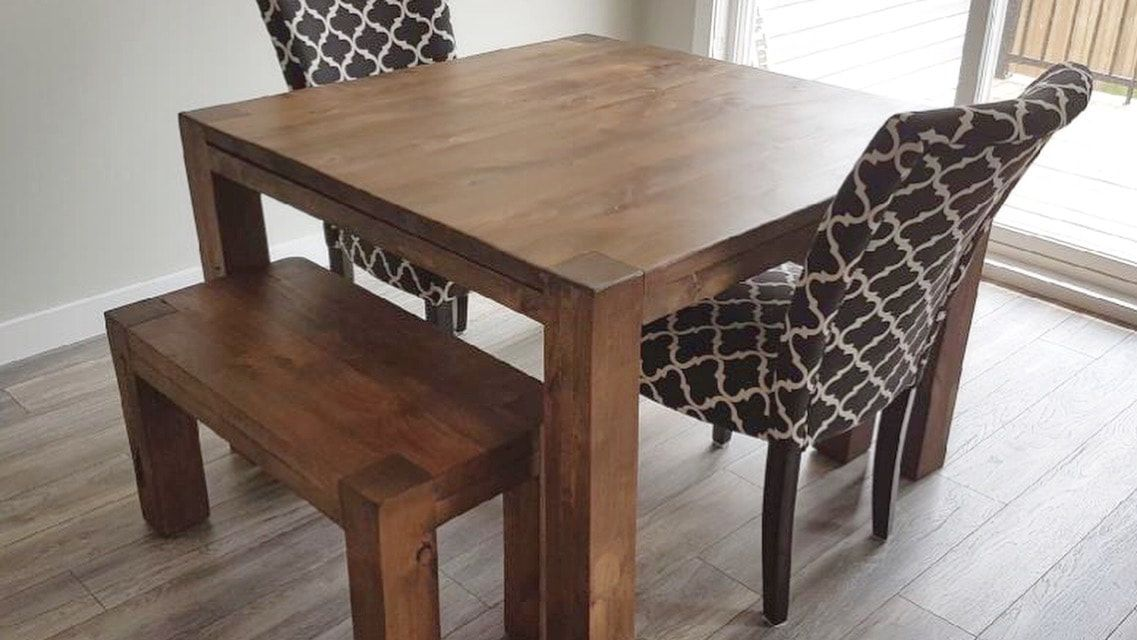 His Her Home Alder Square Dining Table With 2 Mini Benches Small Square Dining Table Dining Table Small Space Square Dining Tables