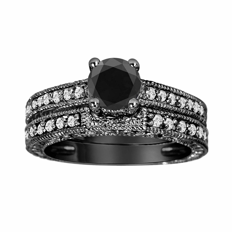 Fancy Black Diamond Engagement Ring And Wedding Band Sets Vintage Style 14K Black Gold 0.87 Carat HandMade by JewelryByGaro on Etsy https://www.etsy.com/listing/167422926/fancy-black-diamond-engagement-ring-and