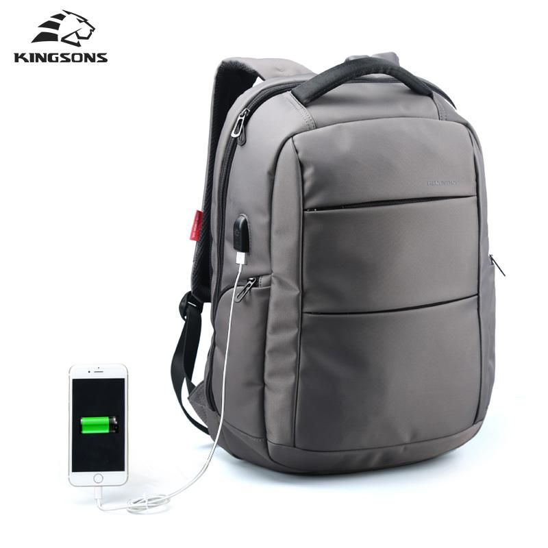 New Waterproof Oxford Business Backpack Men External Charging USB Function 15.6 Laptop Backpack Gray 15 Inches