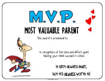 volunteer of the year certificate template - gift m v p most valuable parent appreciation