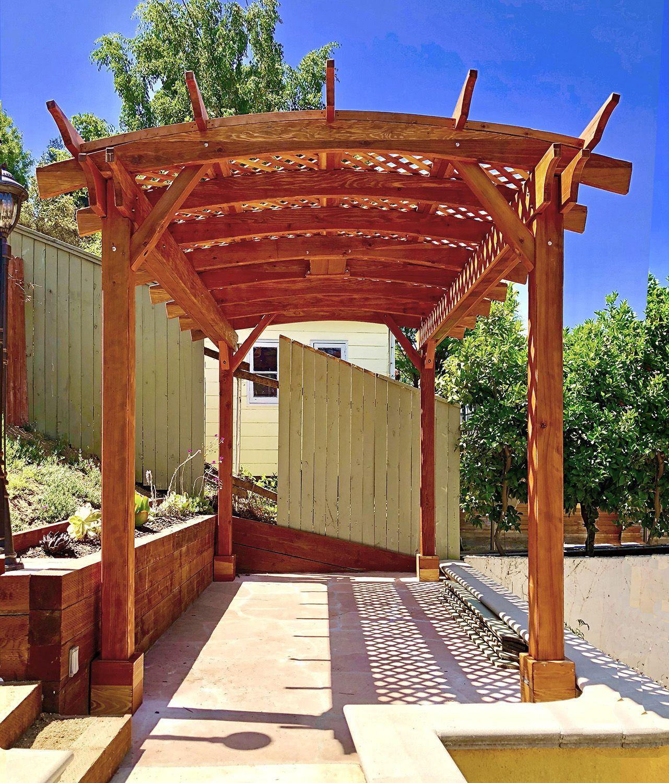 Arched Pergola Kits: Redwood Arched Garden Pergolas ...