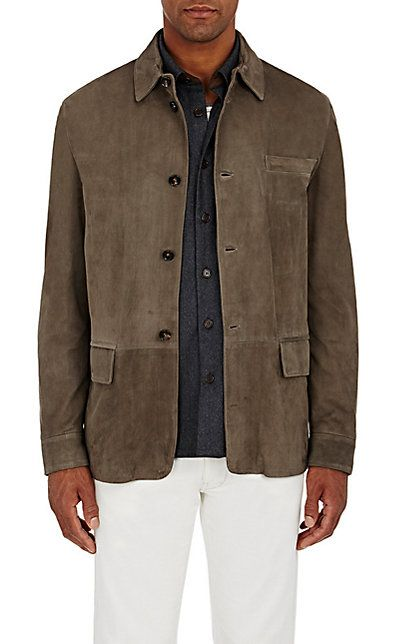 2fa790567 Luciano Barbera Chevron Suede Shirt Jacket - Coats - 504679041 Winter Wear