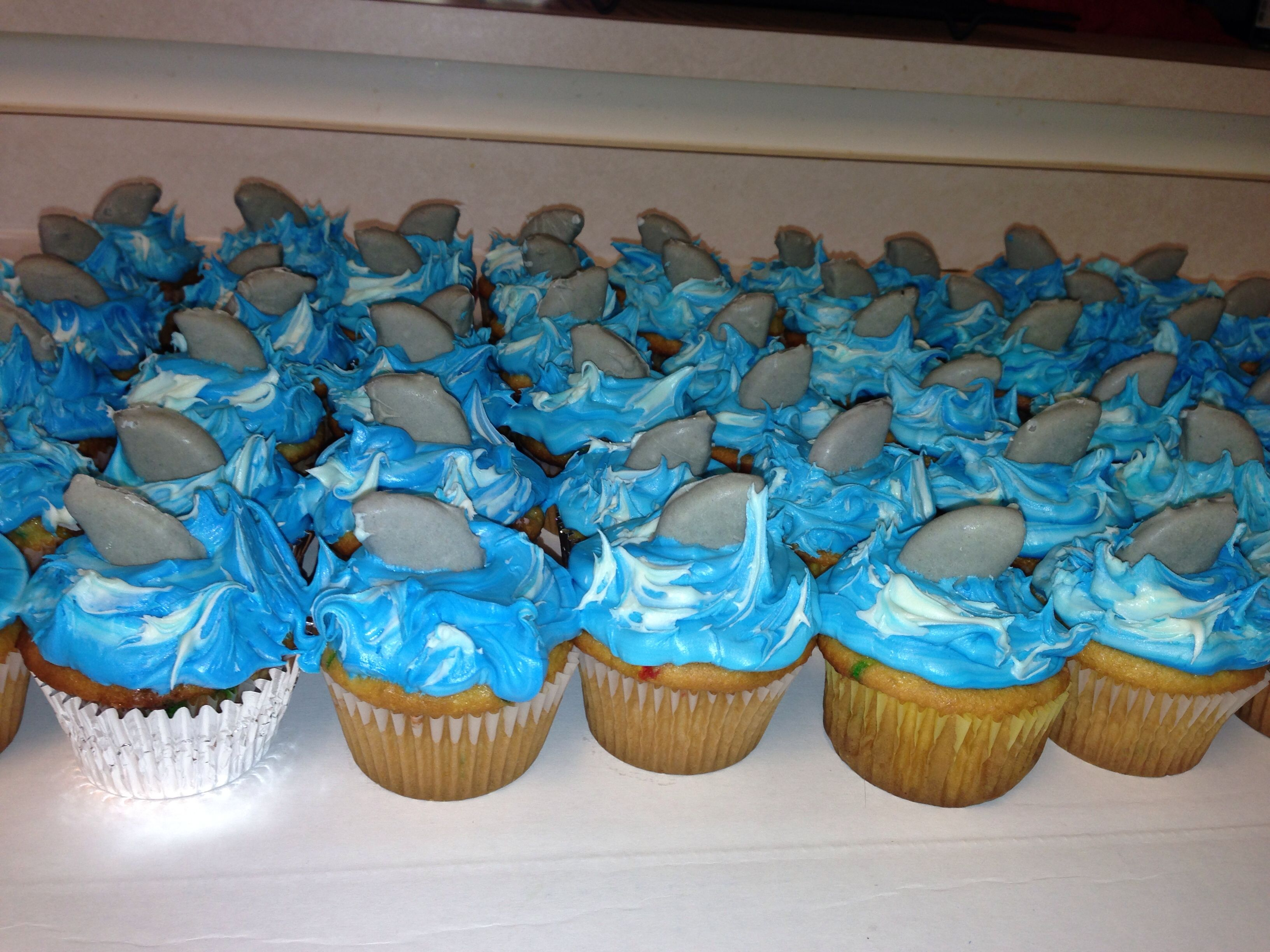 Shark themed Birthday party Homemade cupcakes To make the fins I