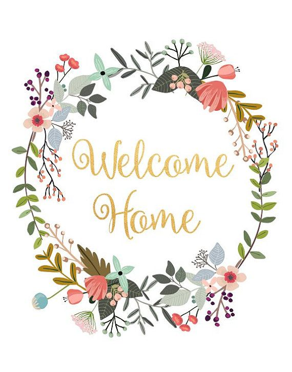 graphic relating to Welcome Home Printable called Welcome Household, Printable Artwork, Typography Print, Floral Estimate